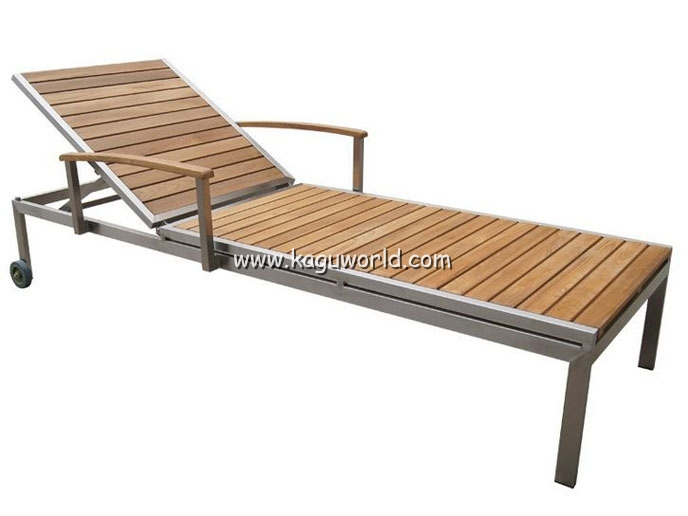 Stainless steel Teak outdoor lounge chair - Stainless Steel Teak Outdoor Lounge Chair_Outdoor Furniture_Products